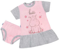 Letní dětská růžovo-šedá noční košilka s hrošíkem