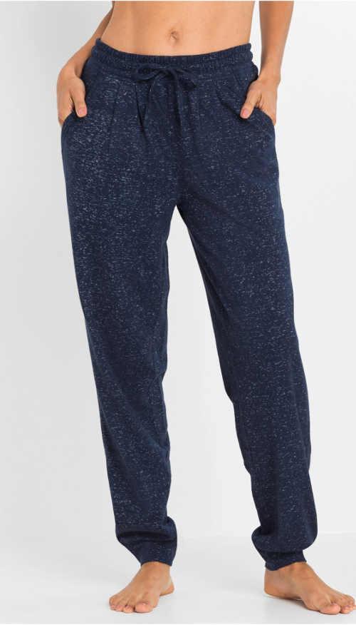 modré pyžamové dámské kalhoty