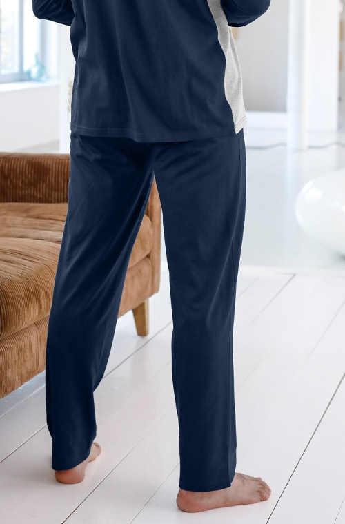 modré pyžamové kalhotky s pružným pasem