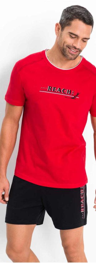 Pánské pyžamo s červeným tričkem s krátkým rukávem