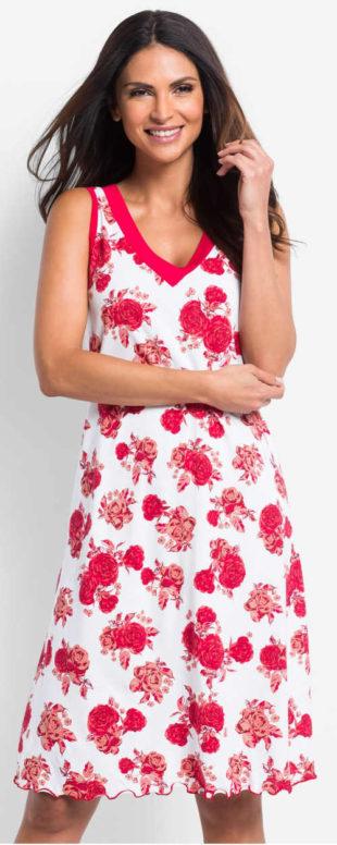 Veselá letní noční košile s potiskem červených růží