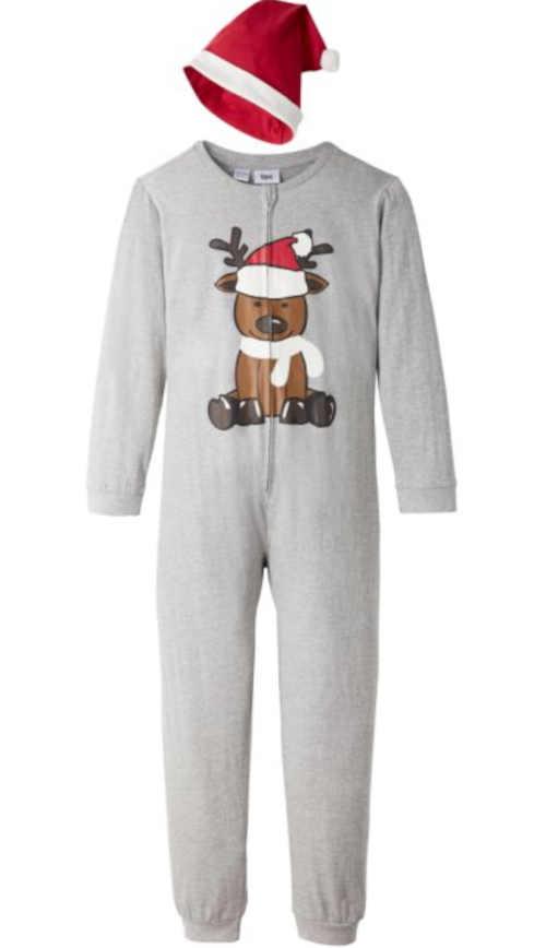 Dětský overal s vánočním motivem a čepicí na spaní