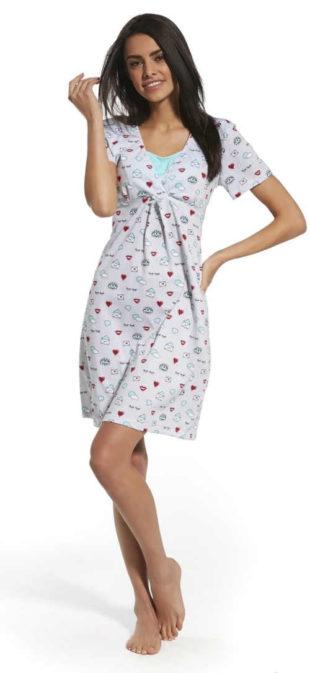 Kojící bavlněná noční košile s moderním potiskem