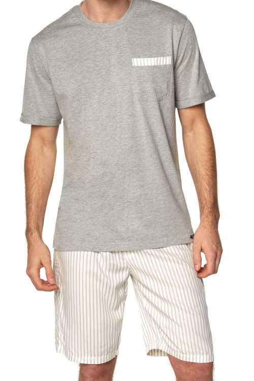 triko a šortky - pyžamo pánské šedé
