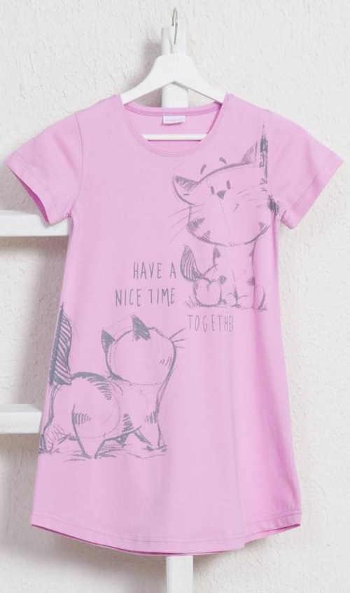 Bavlněná dětská noční košile s veselým potiskem koček