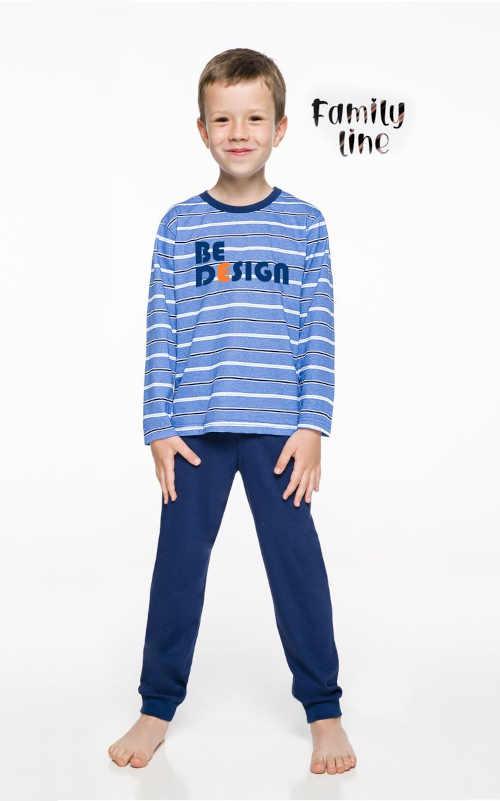 Bavlněné dětské dlouhé pyžamo v modrém či šedém provedení