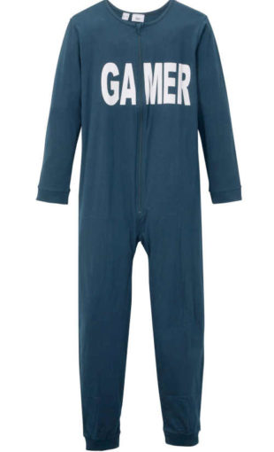Chlapecký dlouhý bavlněný pyžamový overal s nápisem