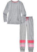 Dámské hřejivé dlouhé pyžamo v šedém melíru s proužky
