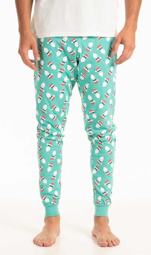 Pánské bavlněné pyžamové kalhoty s veselým vánočním motivem