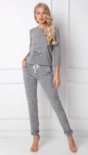 Trendy dámské pyžamo s obrázkem v tmavě šedém provedení