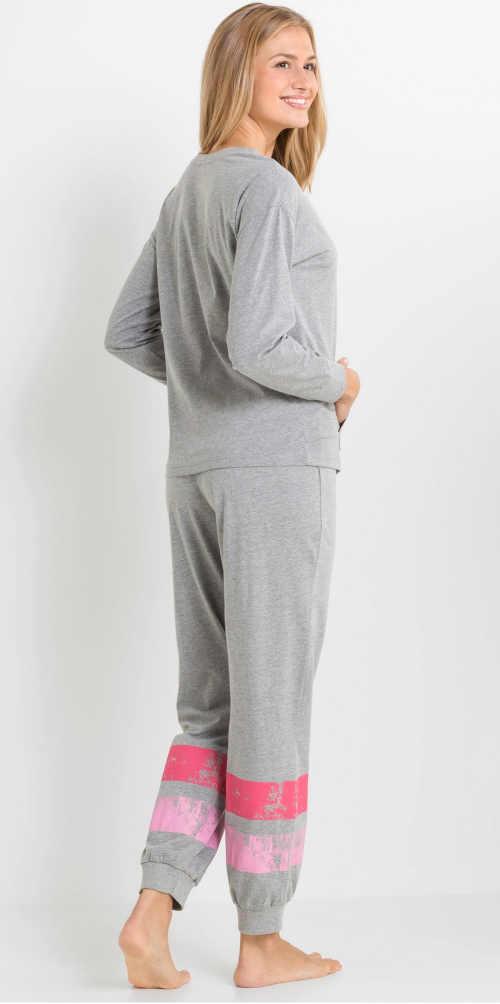 dámské pyžamo dlouhé s proužky