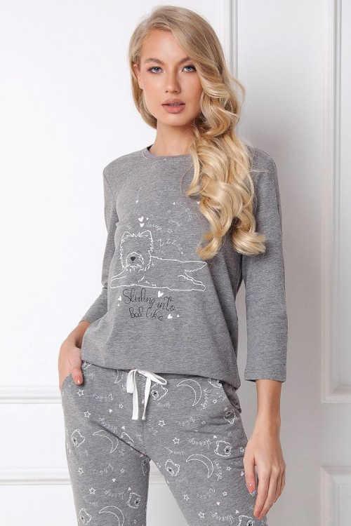 dámské šedé pyžamo s obrázkem