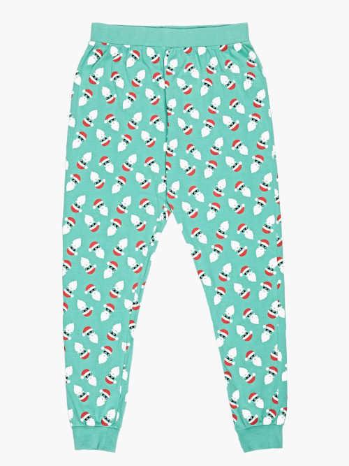 dlouhé bavlněné zelené pyžamové kalhoty