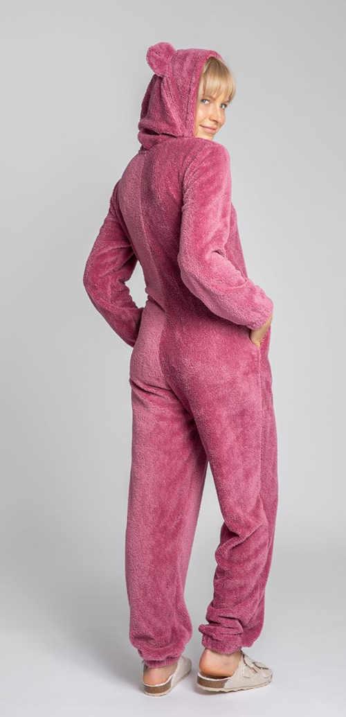 růžový dámský overal s kapucí