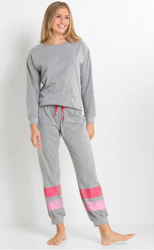 šedé dámské dlouhé pyžamo