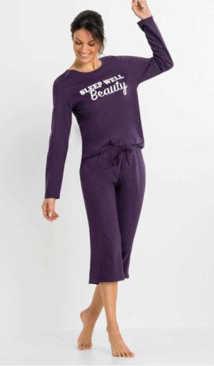 Dámské stylové pyžamo capri s nápisem v přední části
