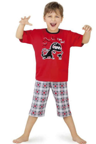 Dětské krátké bavlněné pyžamo s obrázkem dinosaura