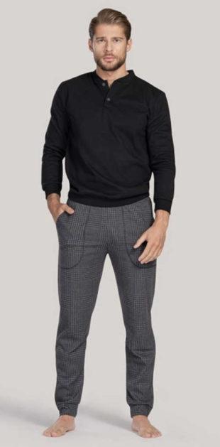 Dlouhé moderní pánské pyžamo v luxusním provedení