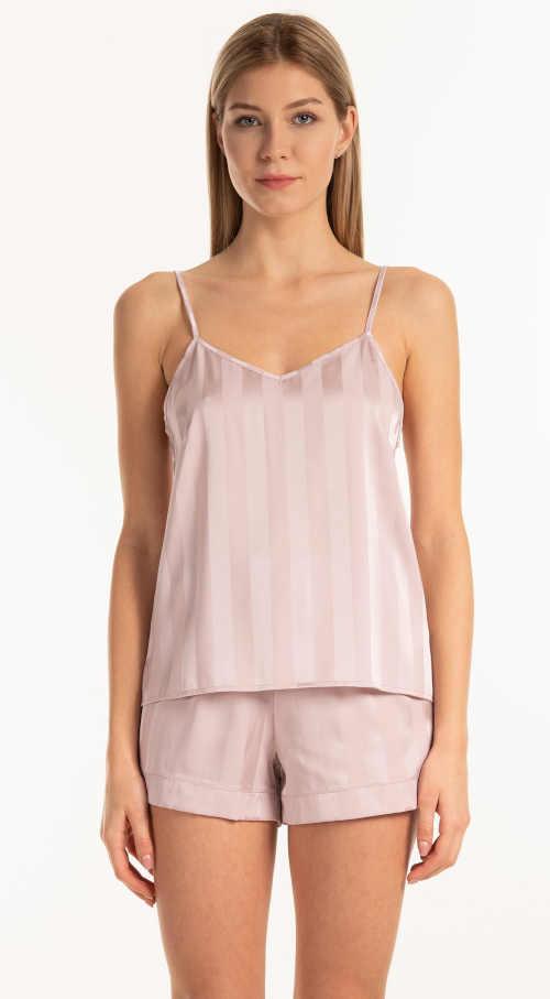 Moderní pyžamový top na ramínka z příjemného saténu