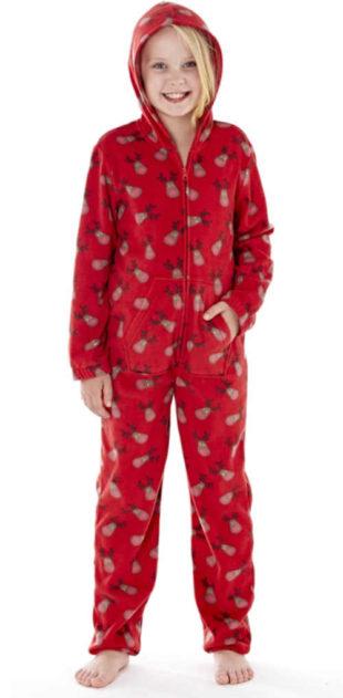 Praktický dlouhý dětský overal na spaní s vánočním motivem