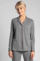 Pyžamový kabátek s knoflíkovou légou v tmavě šedém provedení