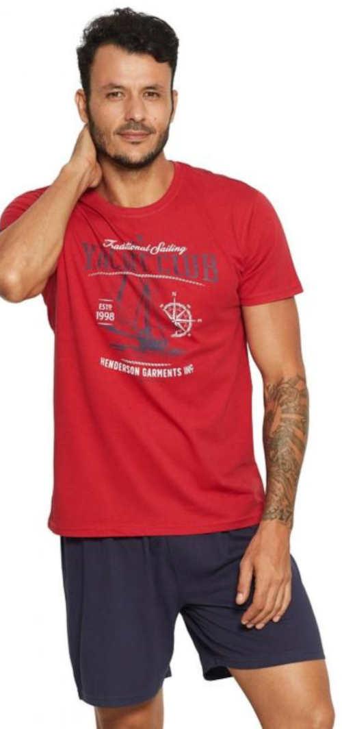 Červeno-modré pánské pyžamo Henderson s tričkem s krátkými rukávy