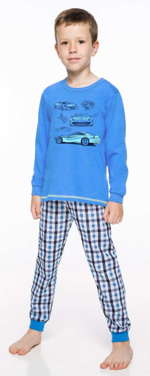 Modré chlapecké pyžamo se sportovními auty