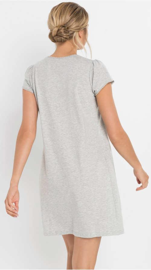 Pohodlná světle šedá noci noční košilka z bavlny