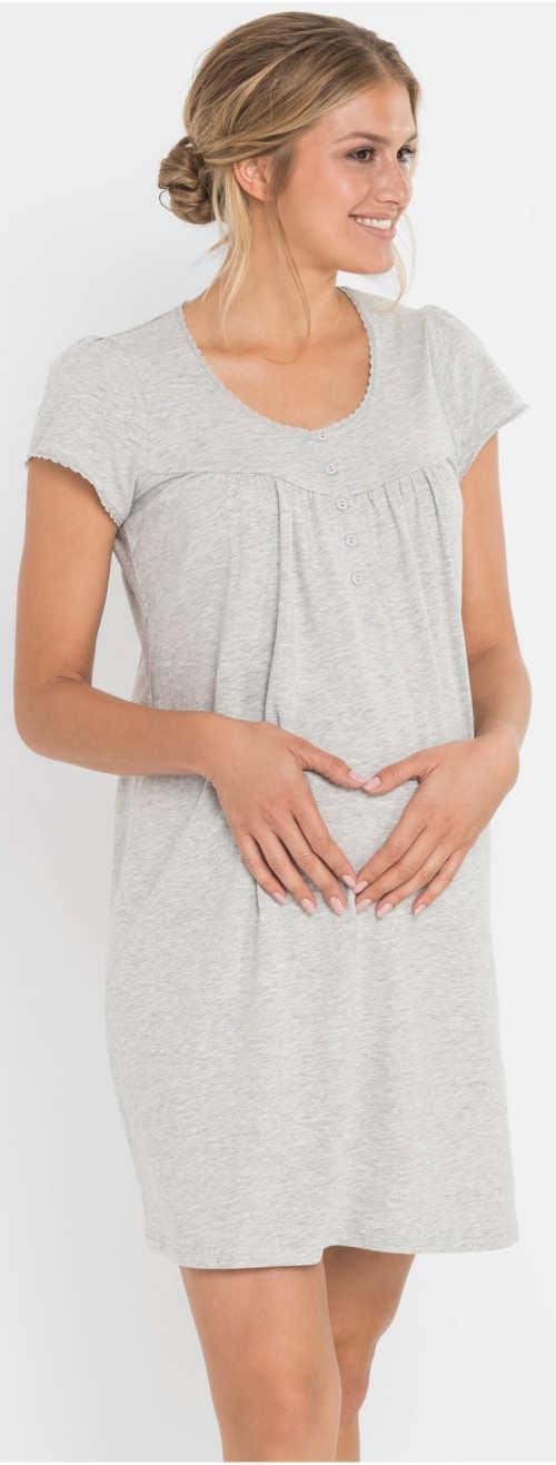 Pohodlná těhotenská noční košilka se zapínáním na knoflíčky