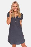 Dámská noční bavlněná košile s krátkým rukávem v moderním střihu