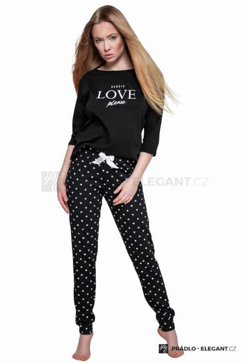 Dámské dlouhé černo-bílé bavlněné pyžamo s potiskem