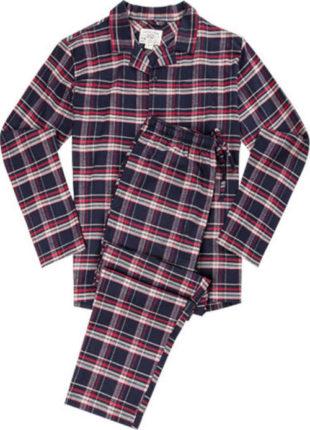 Pánské dlouhé kostkované pyžamo na knoflíkovou légu