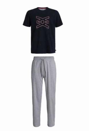 Pánské krátké pyžamo v šedo-modrém provedení z kvalitní bavlny