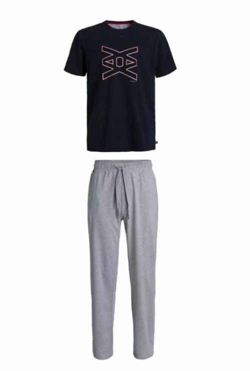 Pánské moderní pyžamo v šedo-modrém provedení z kvalitní bavlny