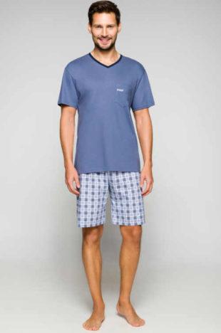 Pánské krátké stylové pyžamo z příjemného bavlněného materiálu