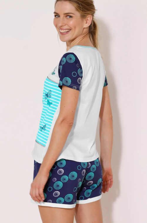bavlněné dámské krátké pyžamo modré