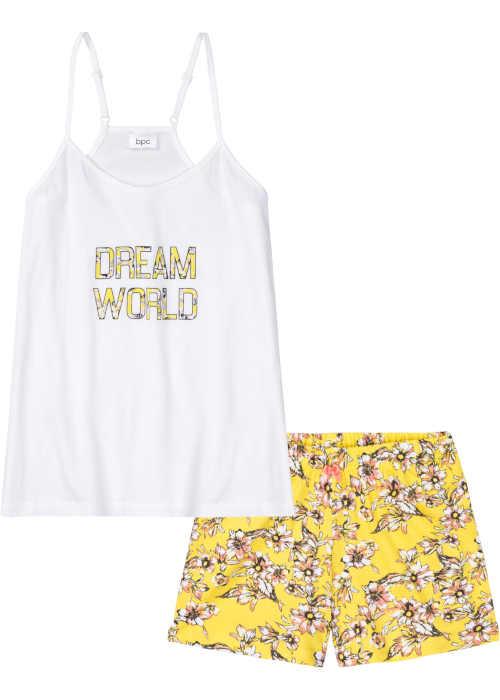 bílo-žluté dámské krátké pyžamo