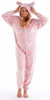 Dámský hřejivý overal v růžové barvičce se zajíčkovým designem