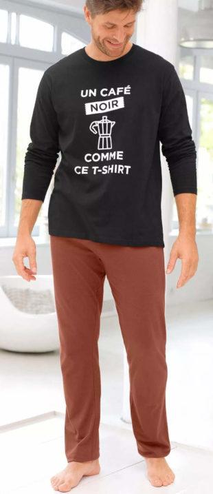 Dvoubarevné pánské dlouhé pyžamo s francouzskými nápisy