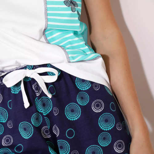 modré vzorované dámské pyžamo
