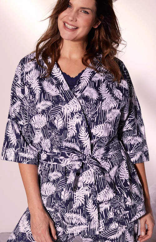 Krátký dámský kimono župan s tropickým vzorem