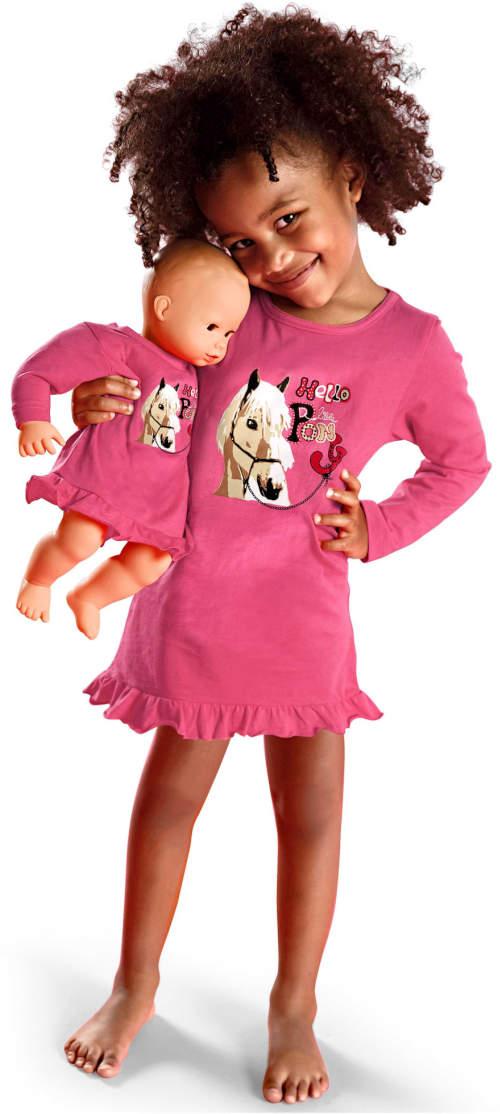 Sada růžová noční košilka pro dceru i pro panenku