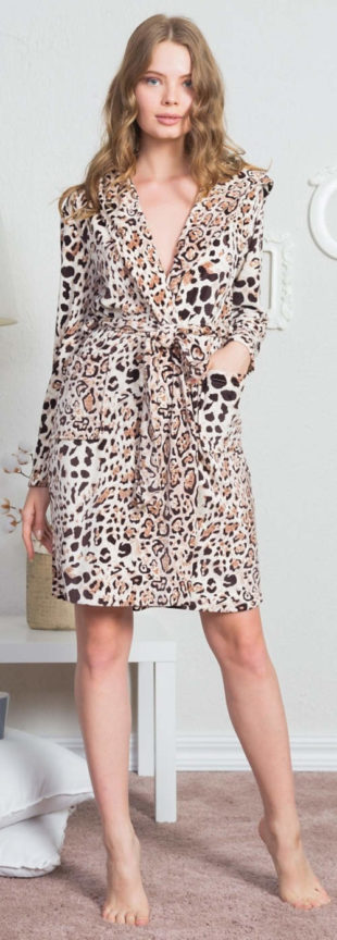 Zajímavý dámský župan s leopardím vzorem