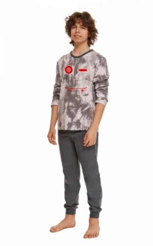 Bavlněné chlapecké dlouhé pyžamo s moderním potiskem