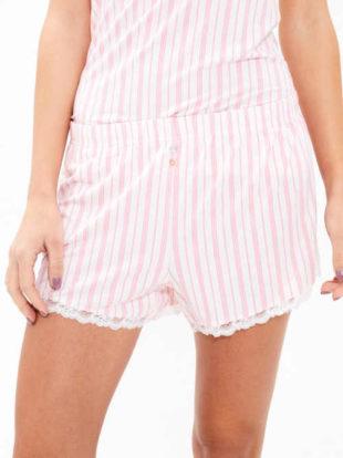 Dámské pyžamové šortky v moderním proužkovaném vzoru