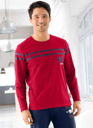 Pánské bavlněné pyžamové triko oživené kontrastními proužky