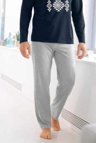 Pyžamové pánské kalhoty šedý melír na stažení v pase