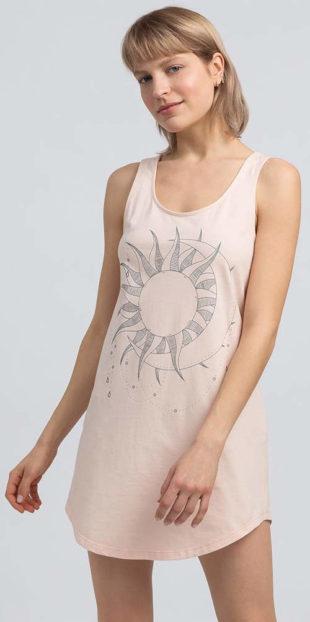 Lehká dámská bavlněná noční košilka tílkového střihu