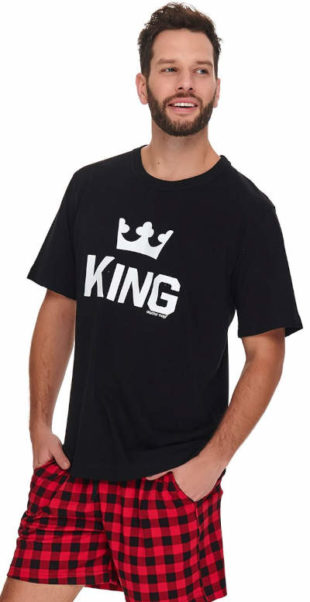 Pánské černo-červené pyžamo King