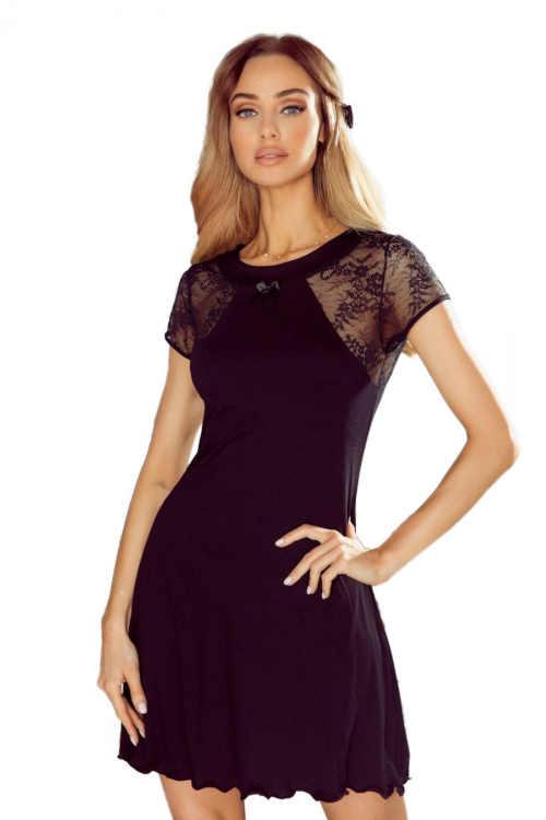 Černá dámská noční košile v krátké délce s krajkovou vsadkou